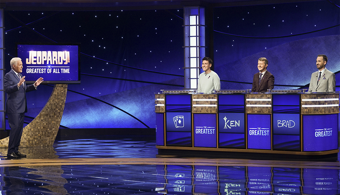 """ALEX TREBEK, JAMES HOLZHAUER, KEN JENNINGS, BRAD RUTTER on the set of """"JEOPARDY! The Greatest of All Time,"""" premiering TUESDAY, JAN. 7 (8:00-9:00 p.m. EST), on ABC."""