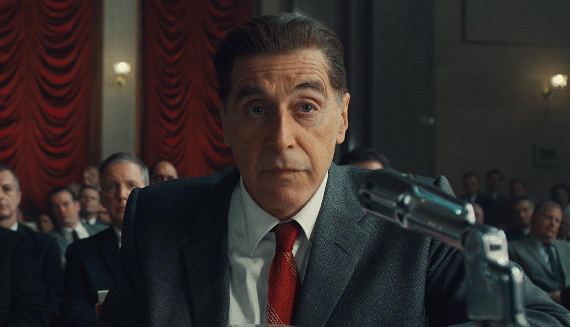 Al Pacino as Jimmy Hoffa in the Senate chambers in the film The Irishman