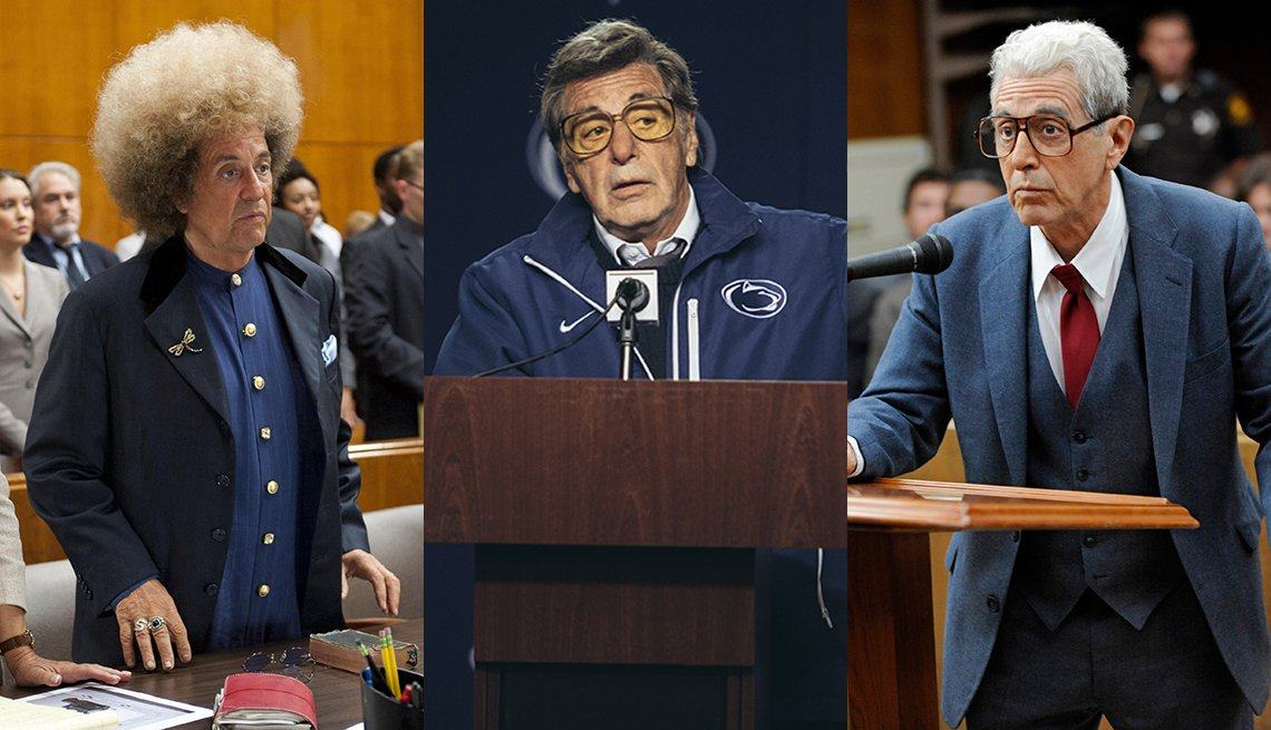 Side by side images of Al Pacino playing Phil Spector Joe Paterno and Doctor Jack Kevorkian