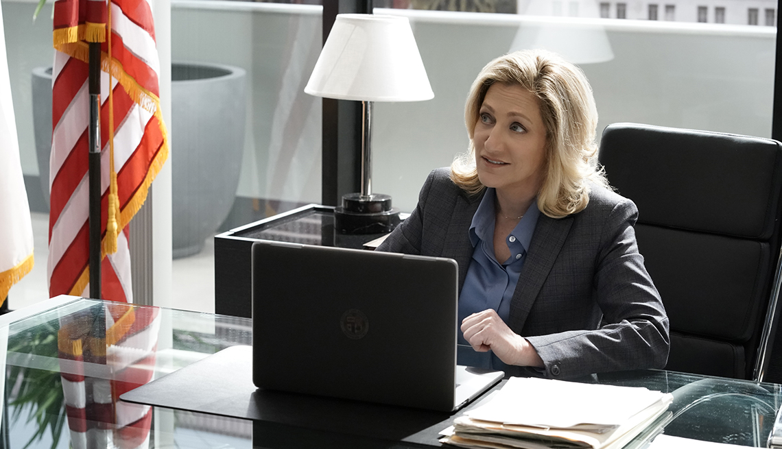 Edie Falco as Abigail Tommy Thomas in the C B S show Tommy
