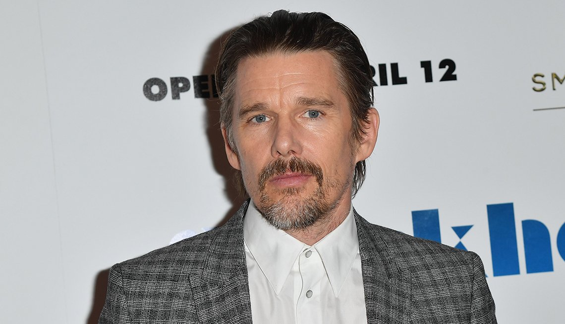 Ethan Hawke attends the New York premiere of the film Stockholm