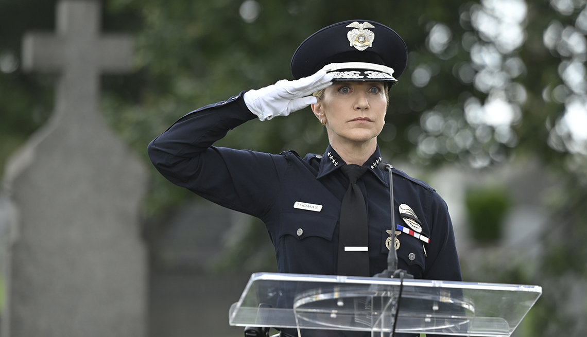 Edie Falco performs a salute as Abigail Tommy Thomas in the C B S police drama Tommy