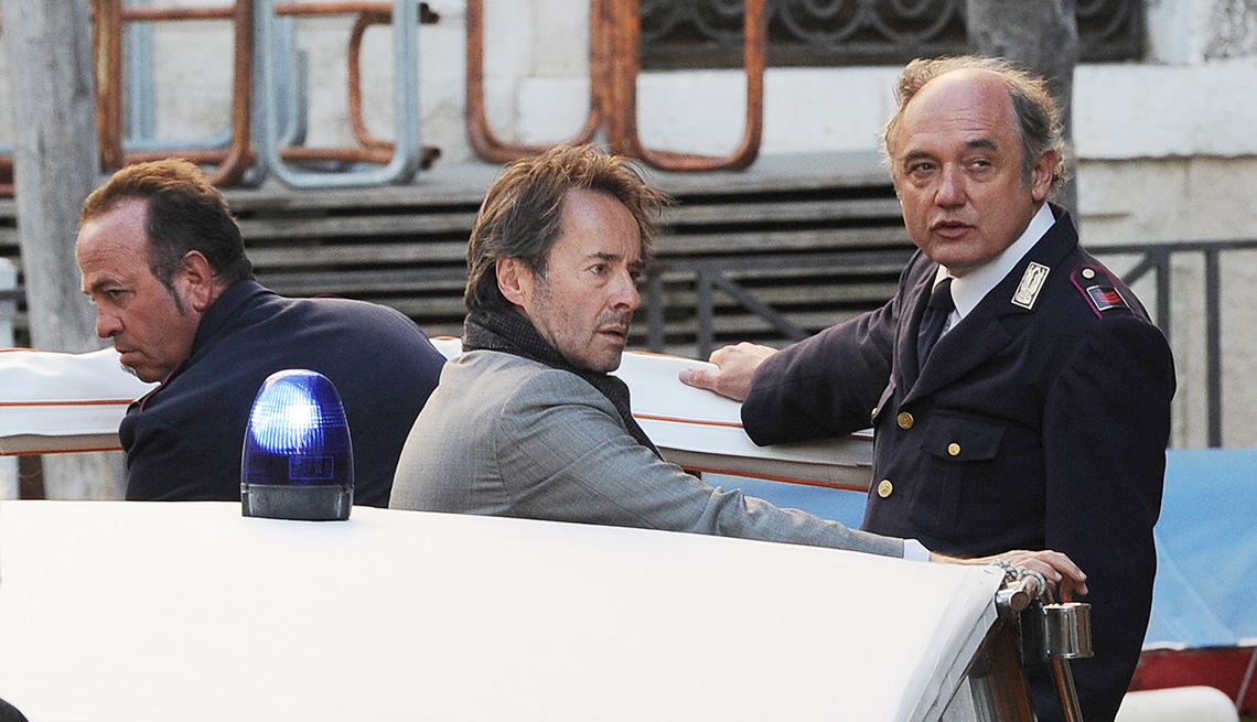 Uwe Kockisch and Nico Benetti are seen on The Commissario Brunetti T V Series Set on November 5 2012 in Venice Italy