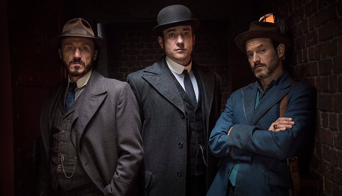Jerome Flynn as Detective Inspector Bennet Drake, Matthew Macfadyen as Inspector Edmund Reid and Adam Rothenberg as Captain Homer Jackson in Ripper Street