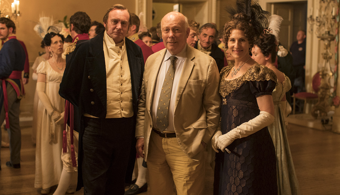 Actor Philip Glenister Belgravia creator Julian Fellowes and actress Tamsin Greig