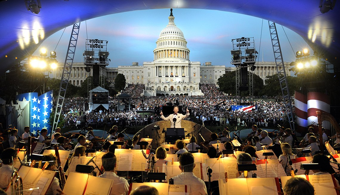 An orchestra performing at the National Memorial Day Concert
