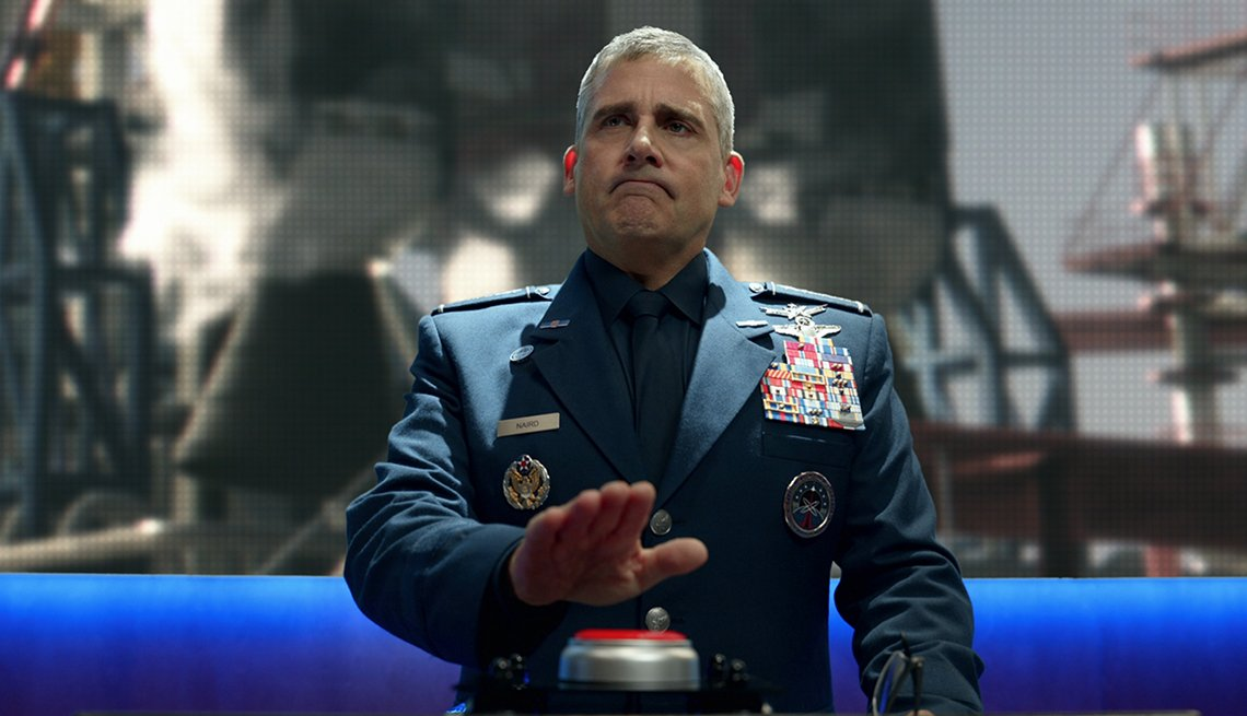 Steve Carell stars as General Mark R Naird in the Netflix show Space Force