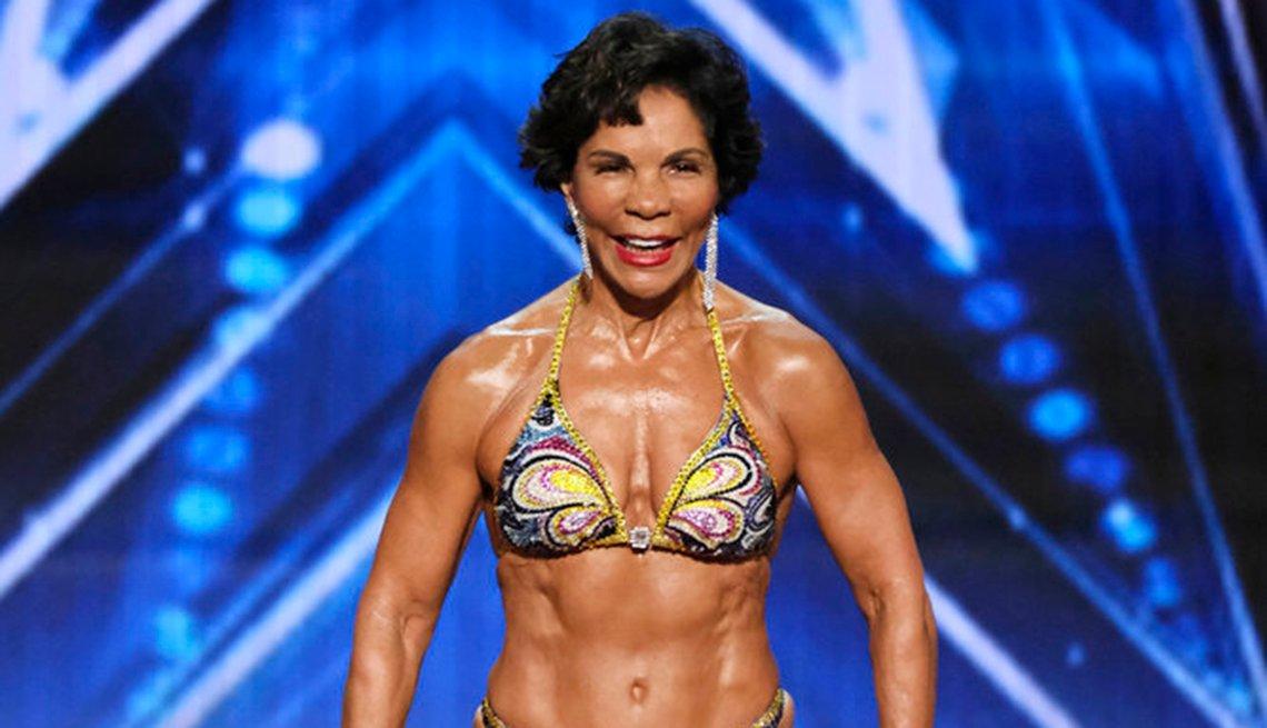 Bodybuilder Josefina Monasterio appearing on Americas Got Talent