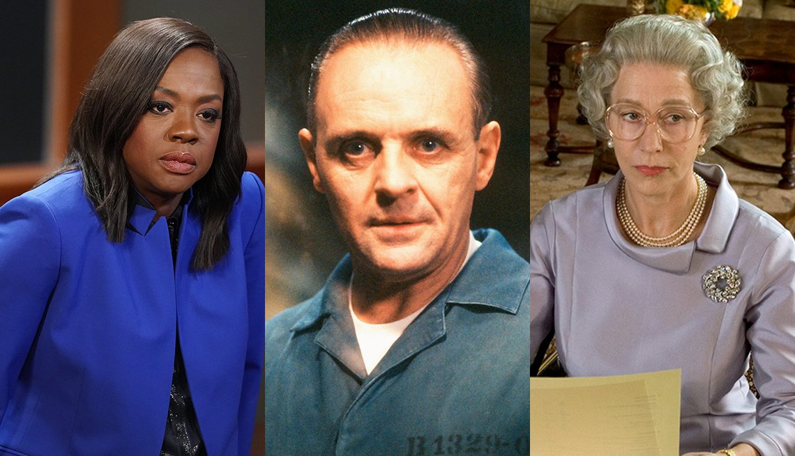 Viola Davis in How to Get Away With Murder Anthony Hopkins in The Silence of the Lambs and Helen Mirren in The Queen