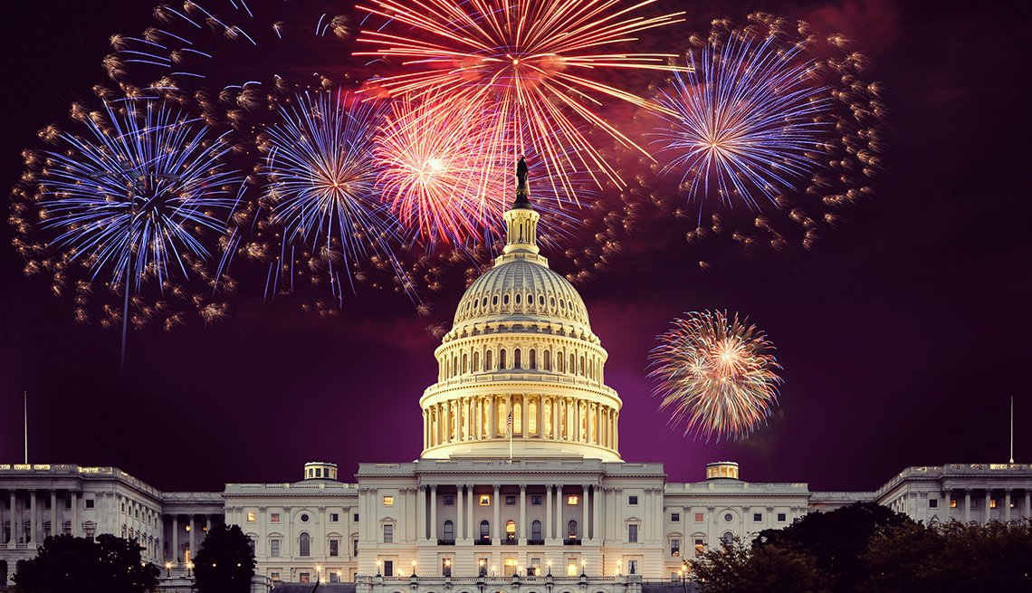 Fireworks over the U.S. Capitol on the Fourth of July