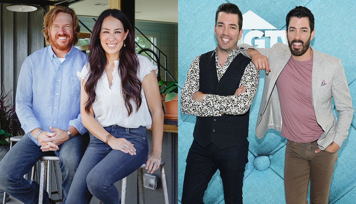 The stars of Fixer Upper Chip and Joanna Gaines and Property Brothers stars Jonathan Scott and Drew Scott