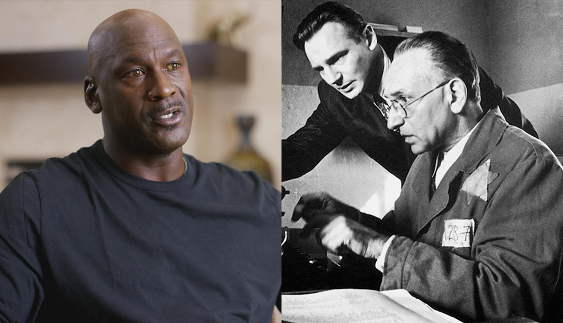 Michael Jordan in The Last Dance and Liam Neeson and Ben Kingsley in Schindlers List