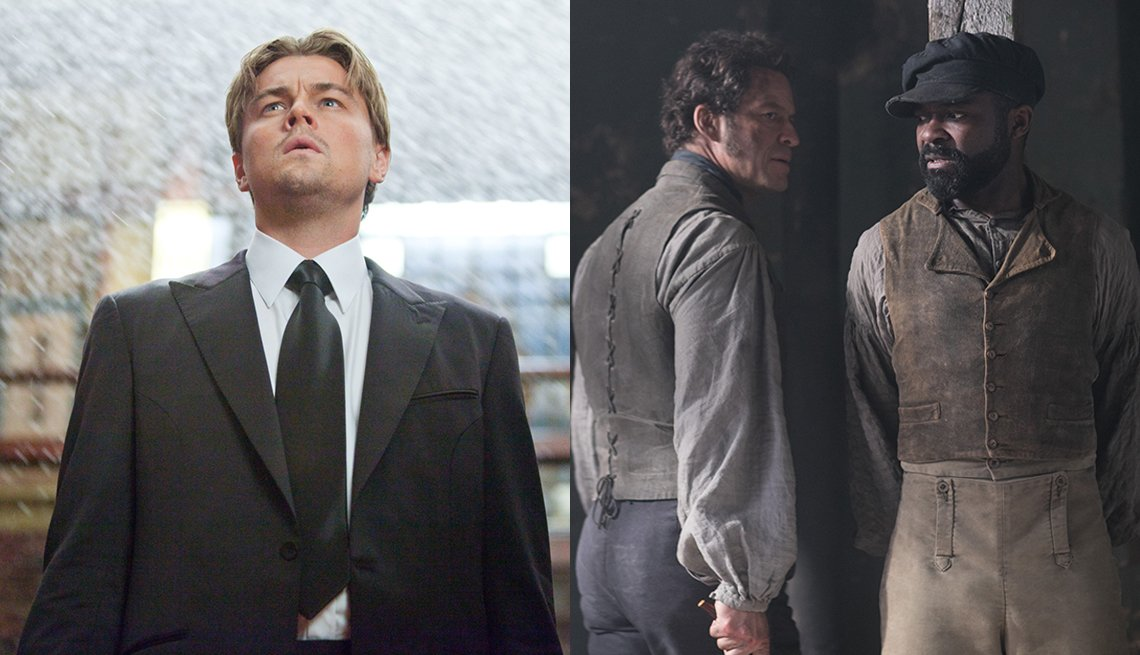 Leonardo DiCaprio in the film Inception and Dominic West and David Oyelowo in the miniseries Les Miserables