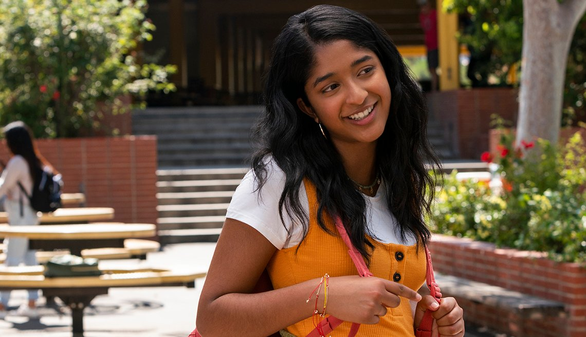 Maitreyi Ramakrishnan in a scene from the Netflix original series Never Have I Ever