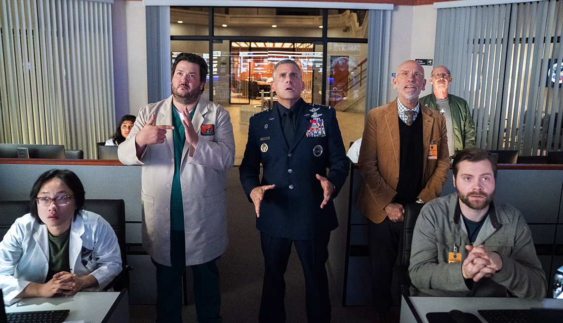 Jimmy O Yang Punam Patel Paul Jurewicz Steve Carell John Malkovich Don Lake and Thomas Ohrstrom in the Netflix series Space Force