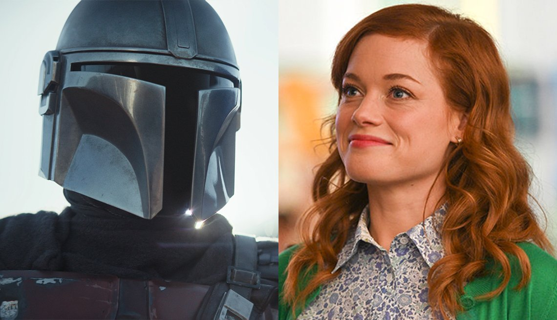 Pedro Pascal en la serie The Mandalorian, y Jane Levy en Zoeys Extraordinary Playlist
