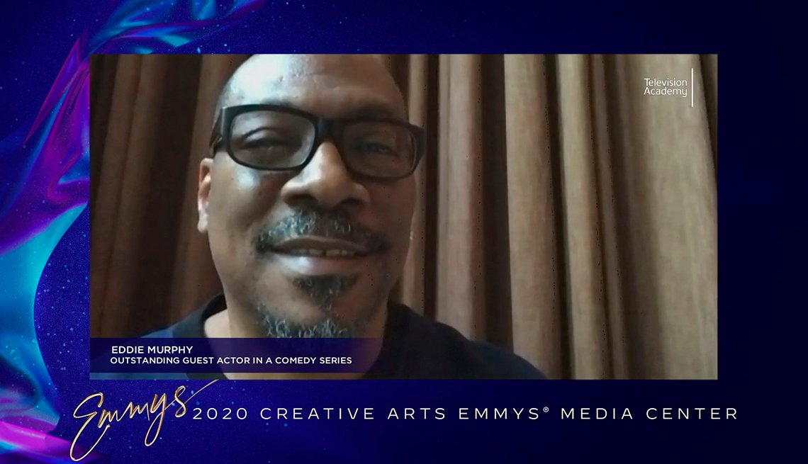 Eddie Murphy accepts the Emmy Award for Outstanding Guest Actor In A Comedy Series for his appearance on Saturday Night Live
