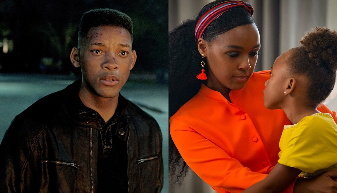 Will Smith in the film Gemini Man and Janelle Monae and London Boyce in Antebellum