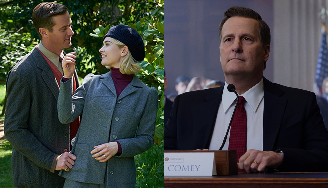 Armie Hammer as Maxim de Winter and Lily James as Mrs de Winter in the Netflix film Rebecca and Jeff Daniels as James Comey in The Comey Rule