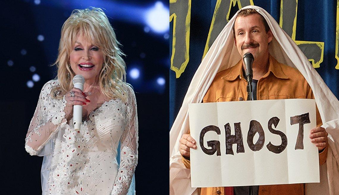 Dolly Parton durante los premios Grammy 2019, y Adam Sandler en una escena de Hubie Halloween