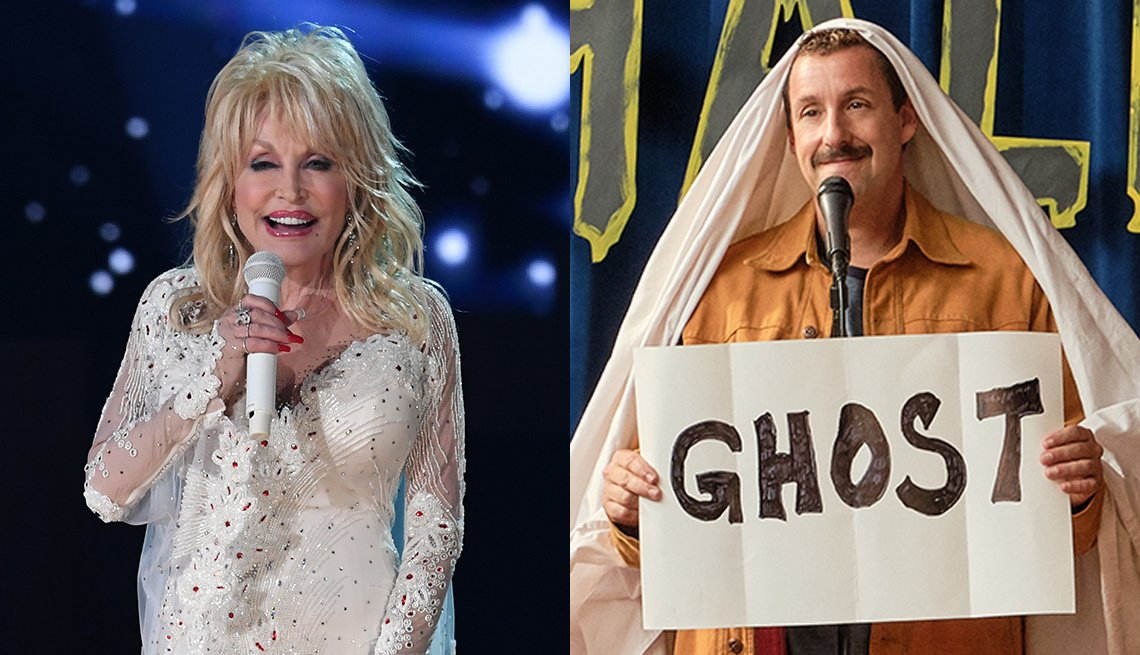 Dolly Parton performs onstage during the 61st Annual Grammy Awards and Adam Sandler in the film Hubie Halloween