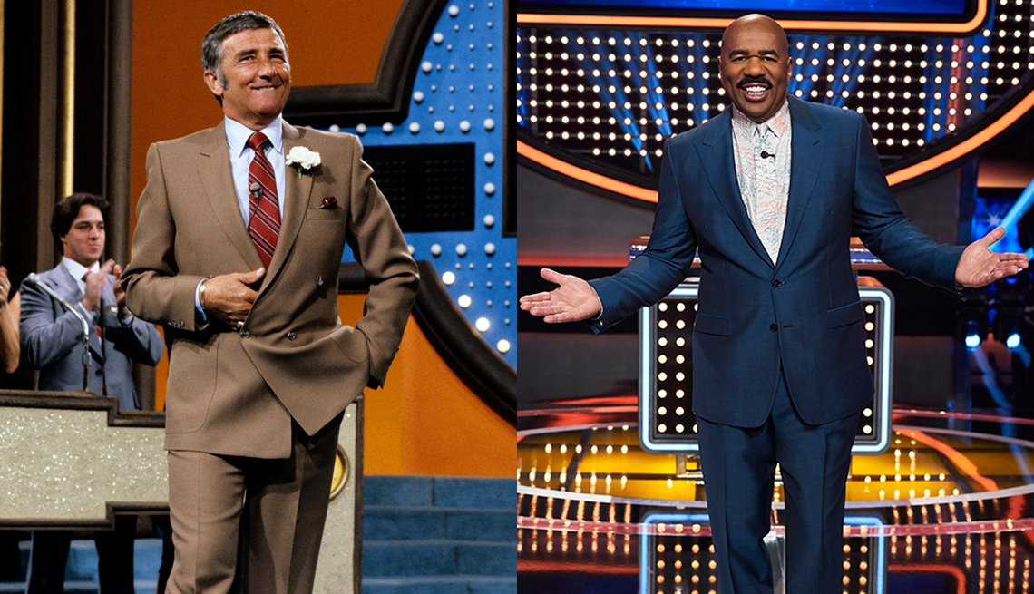 Family Feud hosts Richard Dawson and Steve Harvey