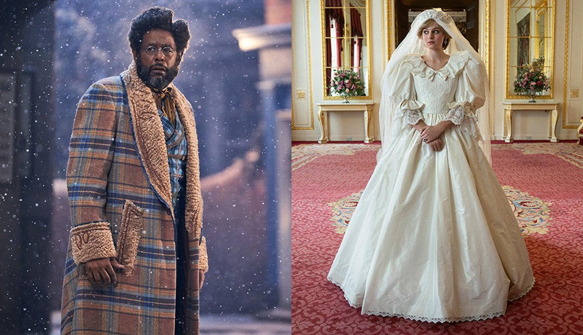 Forest Whitaker en Jingle Jangle: A Christmas Journey y Emma Corrin en The Crown.
