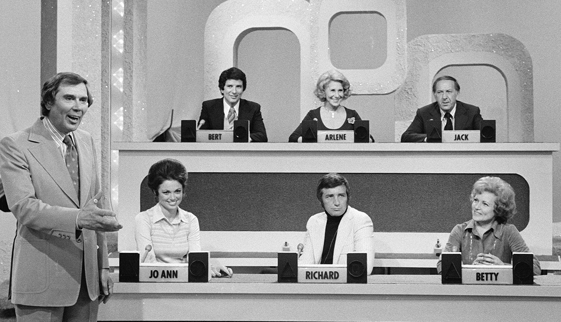 Match Game host Gene Rayburn with guest panelists Bert Convy, Arlene Francis, Jack Klugman, Jo Ann Pflug, Richard Dawson and Betty White