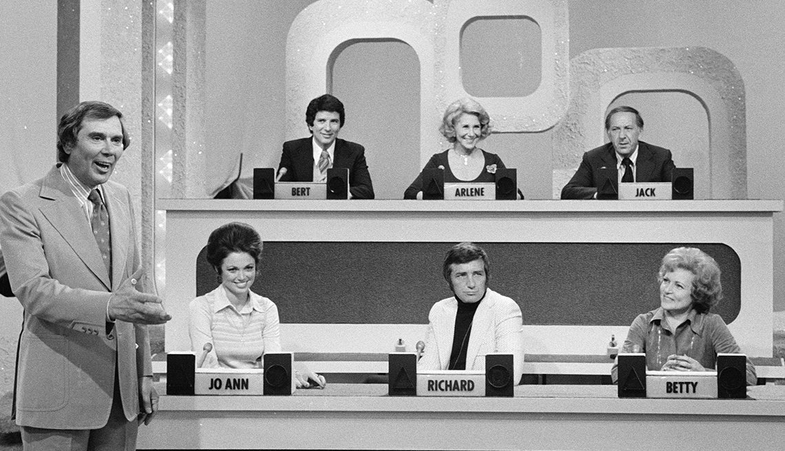 Match Game host Gene Rayburn with guest panelists Bert Convy, Arlene Francis, Jack Klugman, Jo Ann Pflug, Richard Dawson and Betty White