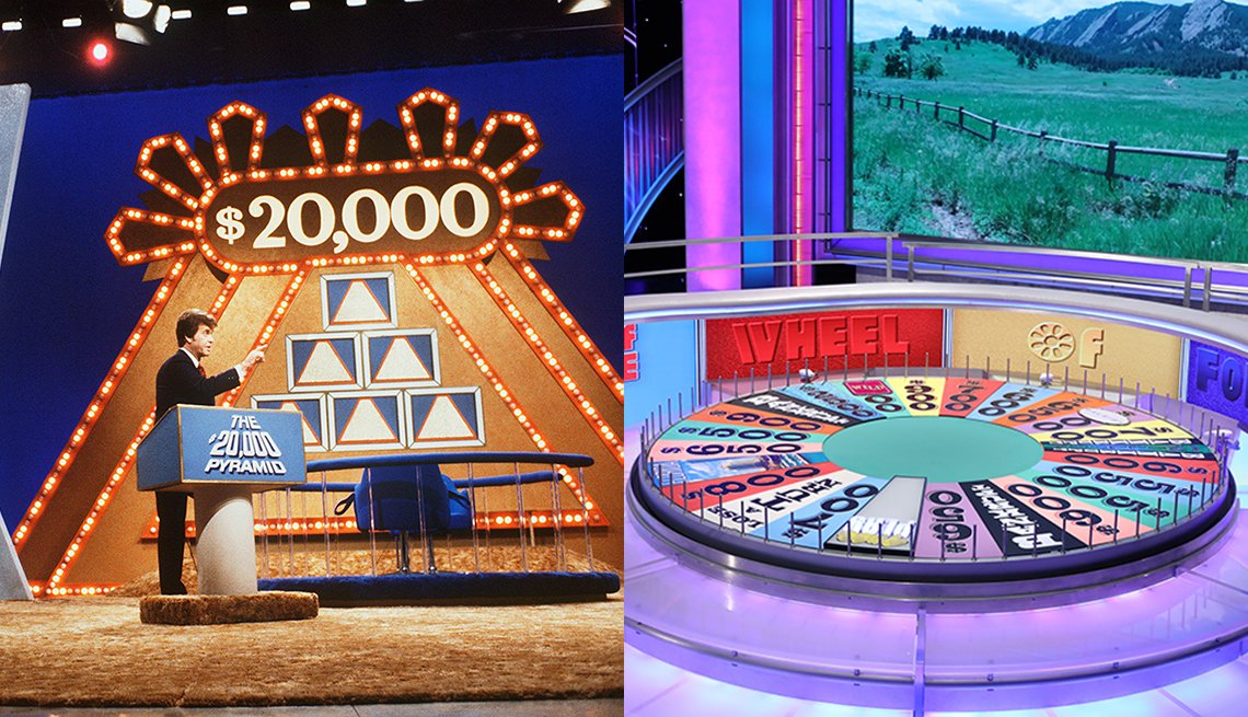 The sets of The $20,000 Pyramid and Wheel of Fortune