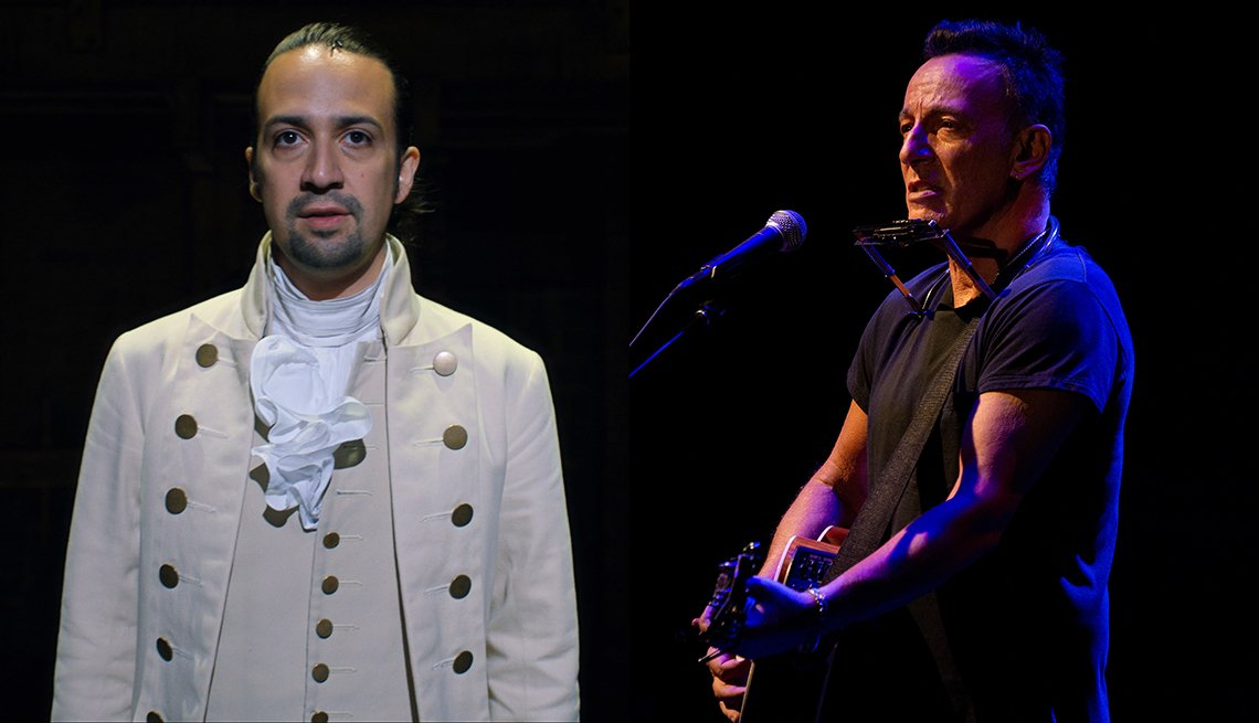 Lin-Manuel Miranda in the filmed version of Hamilton and Bruce Springsteen playing his guitar in Springsteen on Broadway
