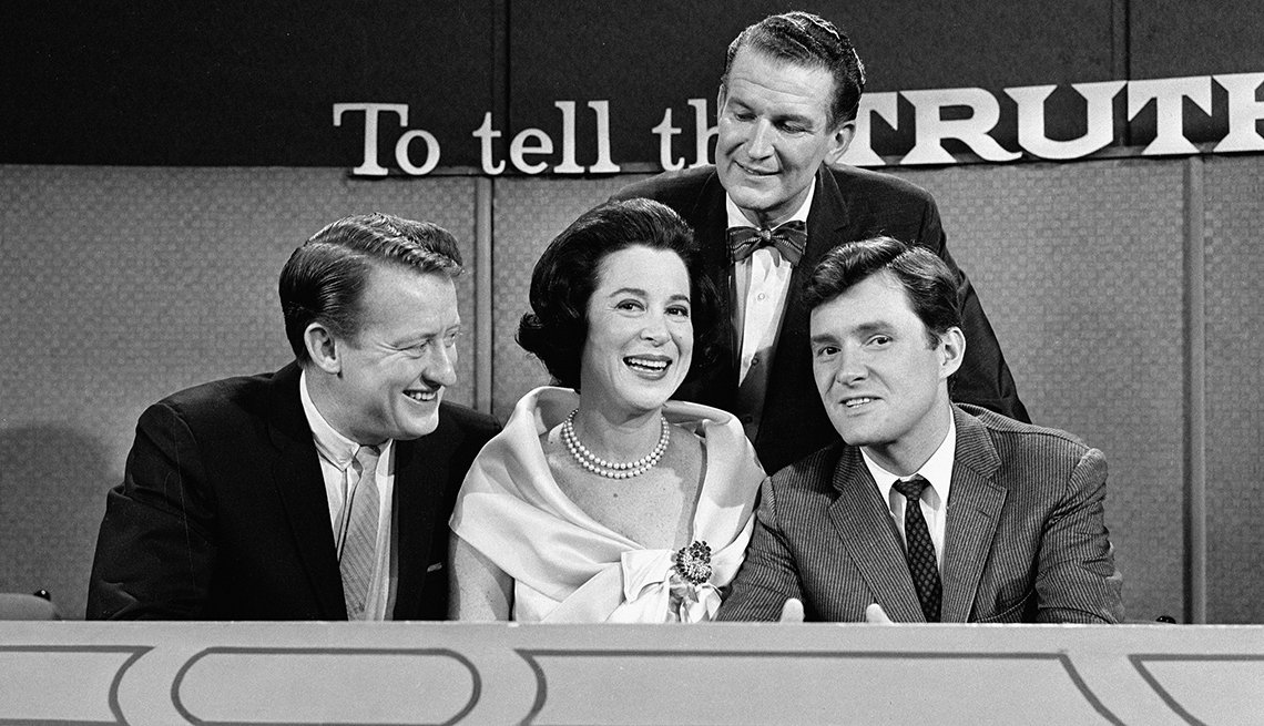 Actors Tom Poston, Kitty Carlisle and Orson Bean with host Bud Collyer on the set of To Tell the Truth