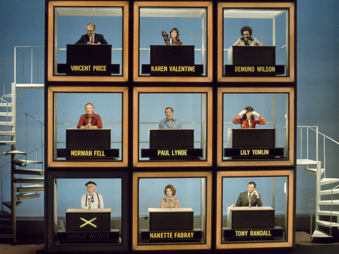 Vincent Price, Karen Valentine, Demond Wilson, Norman Fell, Paul Lynde, Lily Tomlin, Cliff Arquette as Charlie Wilson, Nanette Fabray and Tony Randall on Hollywood Squares