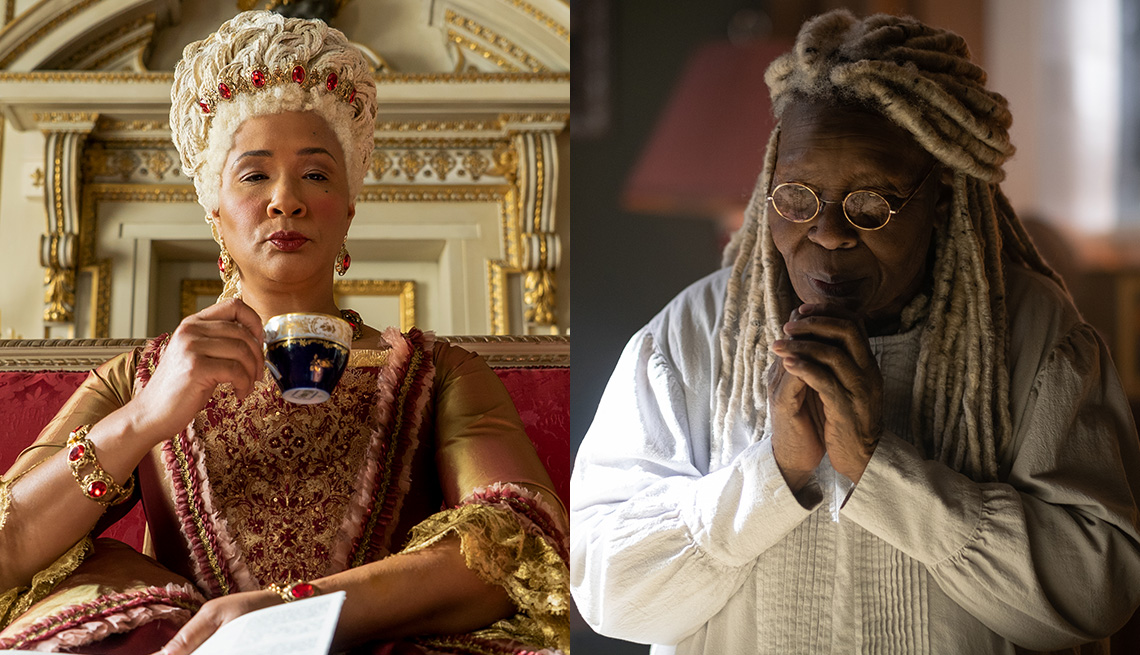 Golda Rosheuvel in the Netflix show Bridgerton and Whoopi Goldberg in the CBS All Access series The Stand