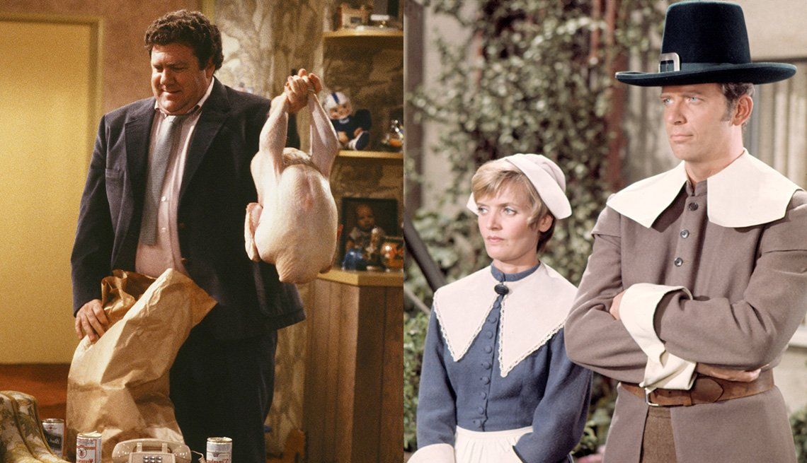 George Wendt holds a turkey in Cheers and Florence Henderson and Robert Reed wear pilgrim costumes in The Brady Bunch