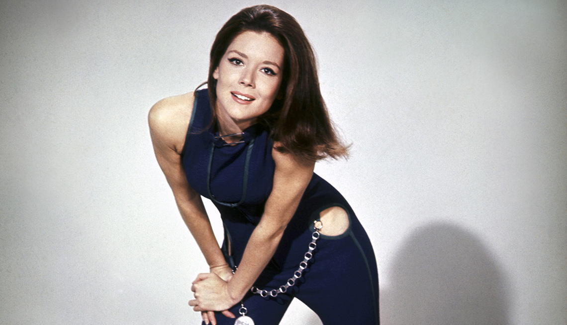 Diana Rigg as Emma Peel on the set of the The Avengers