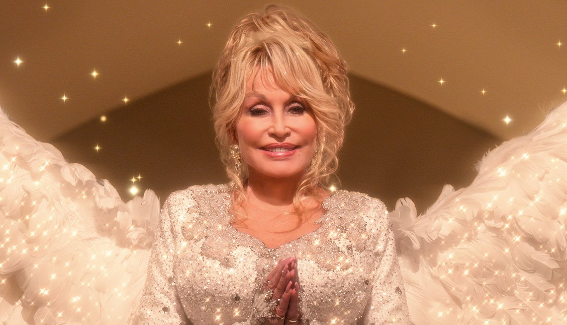 Dolly Parton as Angel in the film Dolly Parton's Christmas on the Square