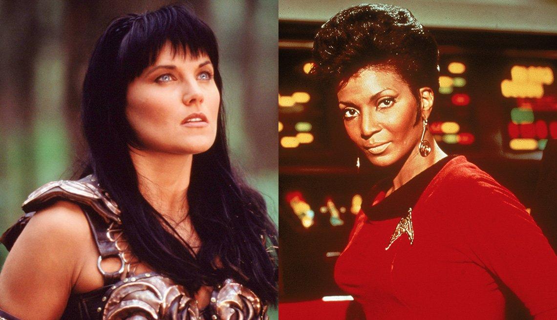 Lucy Lawless como Xena en Xena, la princesa guerrera, y Nichelle Nichols como la teniente Nyota Uhura en Viaje a las estrellas, la serie original.
