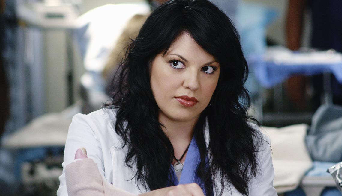 Sara Ramirez as Dr. Callie Torres in the TV show Grey's Anatomy