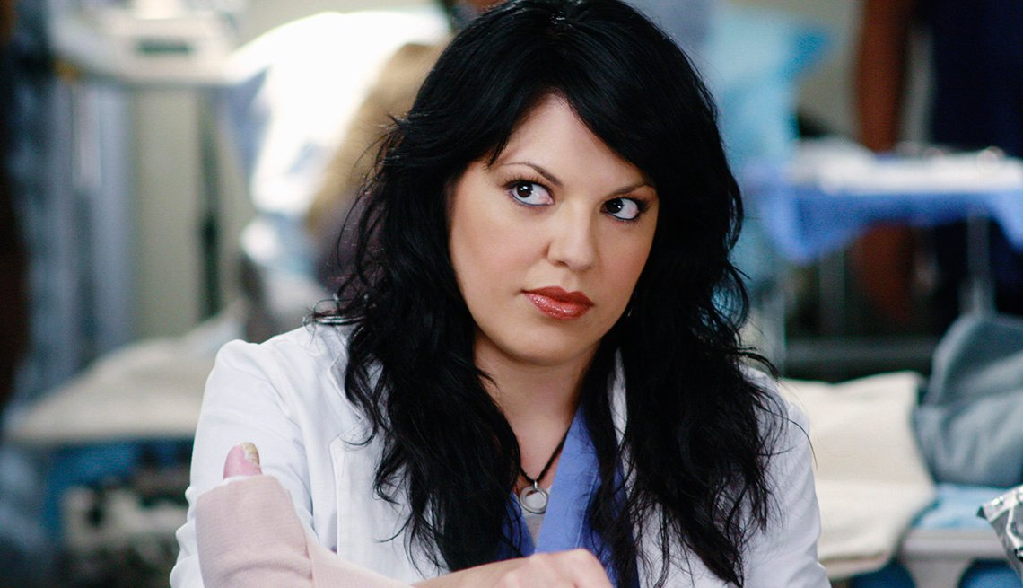 Sara Ramirez as Dr. Callie Torres in the TV show Grey's Anatomy