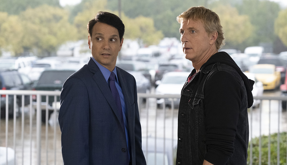 Ralph Macchio and William Zabka star in the Netflix series Cobra Kai