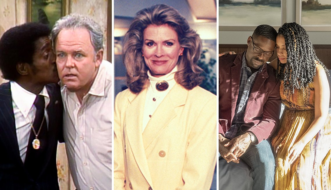 Side by side images from TV shows All in the Family, Murphy Brown and This Is Us