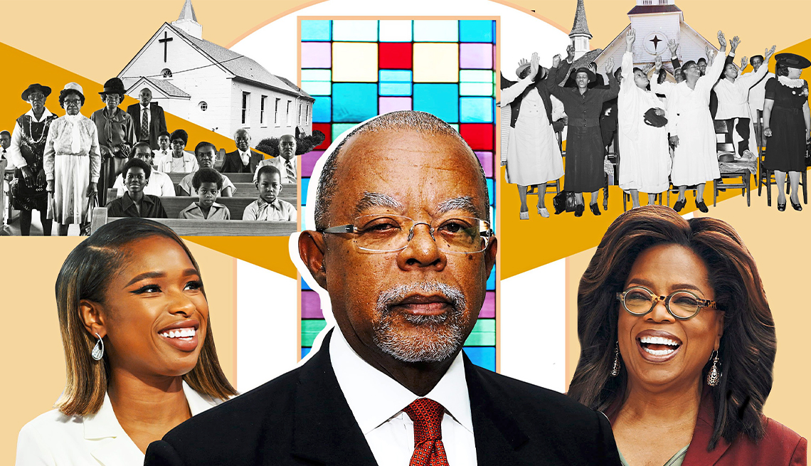 """Jennifer Hudson, Henry Louis Gates, Oprah Winfrey y escenas del documental """"The Black Church: This Is Our Story, This Is Our Song""""."""