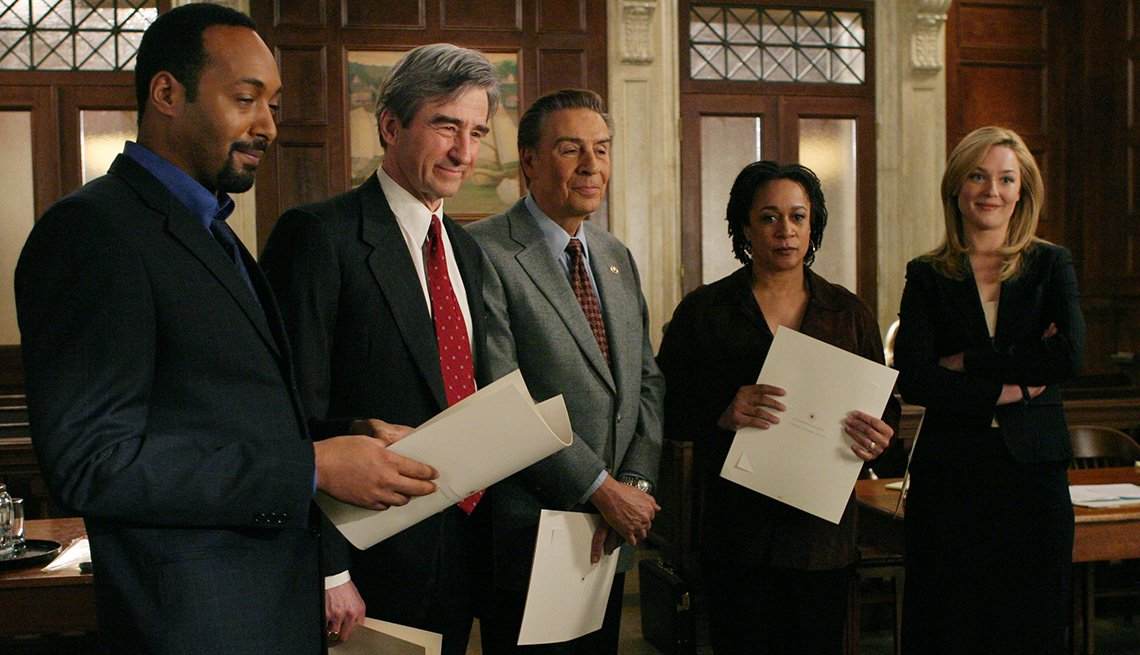 Jesse L. Martin, Sam Waterston, Jerry Orbach, S. Epatha Merkerson and Elisabeth Rohm in Law and Order