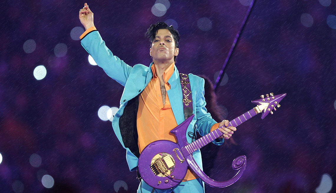 Prince performs at the Super Bowl XLI halftime show