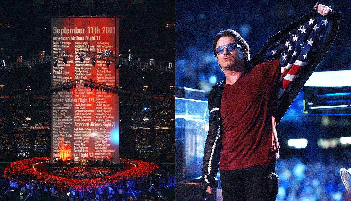 Los nombres de las víctimas de los ataques del 11 de septiembre se desplazan hacia arriba mientras U2 se presenta durante el espectáculo de medio tiempo en el Super Bowl XXXVI y Bono muestra el forro de la bandera estadounidense en su chaqueta.