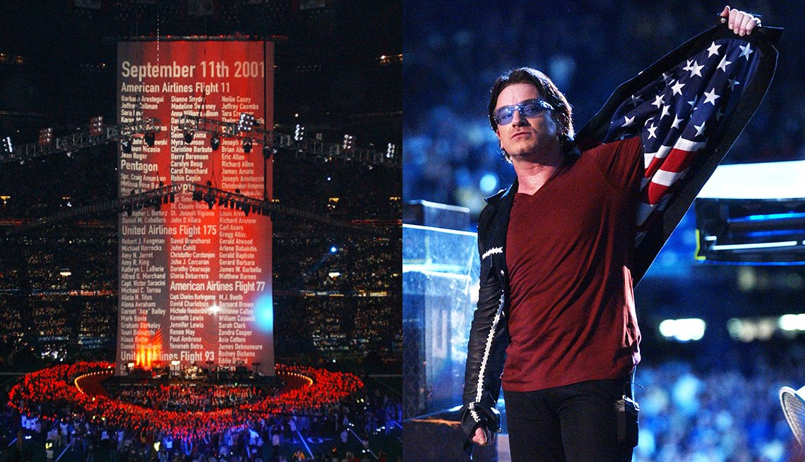 Names of the victims of the 9/11 attacks scroll up as U2 performs during the halftime show at Super Bowl XXXVI and Bono displays American flag lining in his jacket