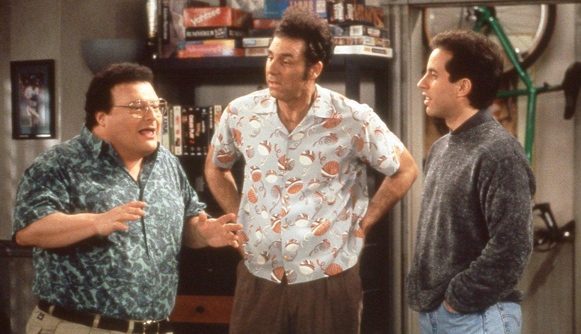 "(De izquierda a derecha) Wayne Knight, Michael Richards y Jerry Seinfeld en ""Seinfeld""."