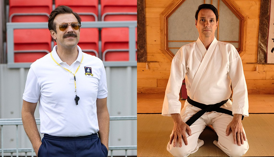 Jason Sudeikis stars in Ted Lasso and Ralph Macchio in Cobra Kai