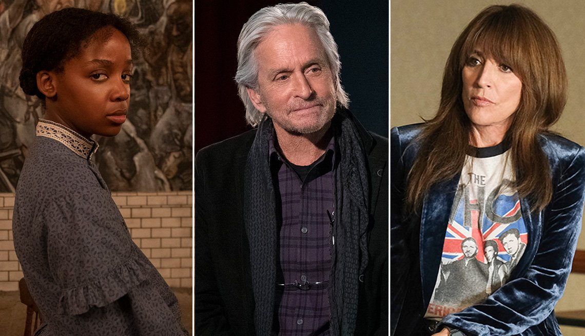 """(De izquierda a derecha) Thuso Mbedu como Cora Randall en """"The Underground Railroad"""", Michael Douglas como Sandy Kominsky en """"The Kominsky Method"""" y Katey Sagal como Annie 'Rebel' Bello en """"Rebel""""."""